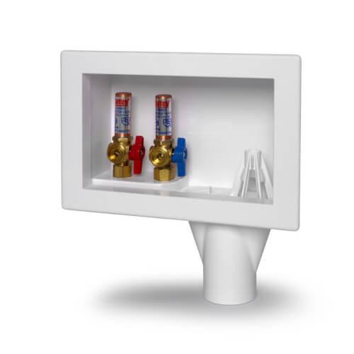 Eliminator CPVC, Bottom Mount Washing Machine Outlet Box w/ Water Hammer Arrestor, 1/4 Turn (Standard Pack) Product Image