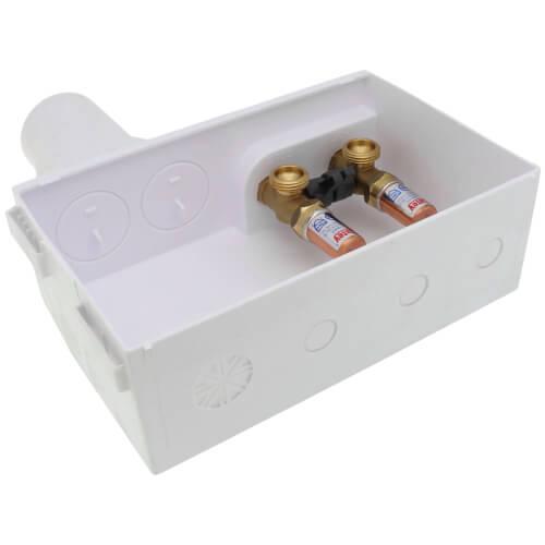 Eliminator Expansion PEX, Bottom Mount Washing Machine Outlet Box w/ Water Hammer Arrestor, 1/4 turn (Standard Pack) Product Image