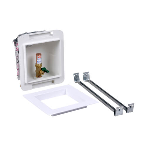 Fire Rated Expansion PEX Ice Maker Outlet Box w/ Water Hammer Arrestor, 1/4 Turn, Low Lead (Standard Pack) Product Image