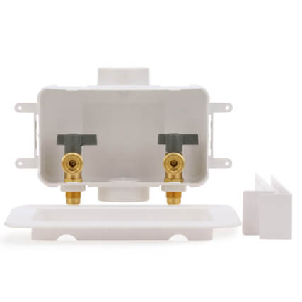 Square Copper Ice Maker Outlet Box w/ Water Hammer Arrestor, 1/4 Turn, 6' SS Hose, Low Lead (Standard Pack)  Product Image