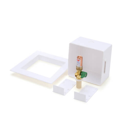Square CPVC Ice Maker Outlet Box w/ Water Hammer Arrestor, 1/4 Turn, Low Lead (Standard Pack) Product Image