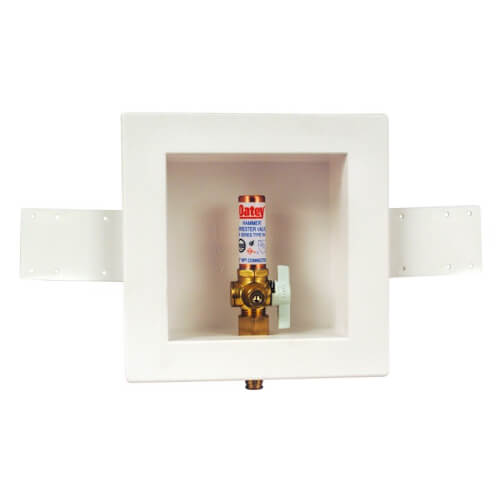 Square Expansion PEX Ice Maker Outlet Box w/ Water Hammer Arrestor, 1/4 Turn, Low Lead (Standard Pack) Product Image
