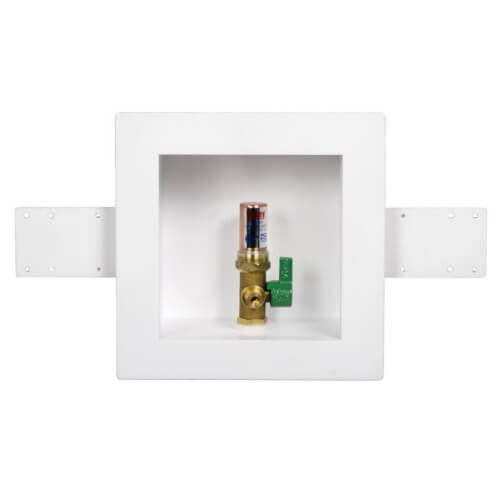 Square Copper Ice Maker Outlet Box w/ Water Hammer Arrestor, 1/4 Turn, Low Lead (Standard Pack) Product Image