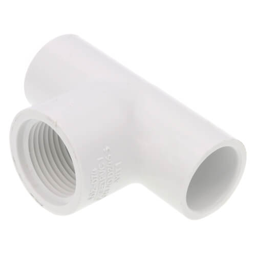 "1/2"" x 1/2"" x 3/4"" PVC Sch. 40 Threaded Tee (Socket x FIPT) Product Image"