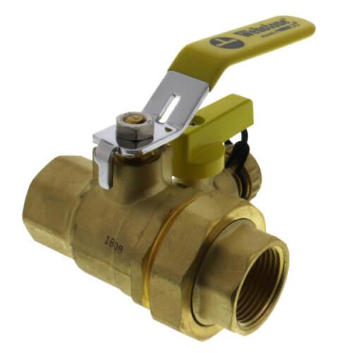 "1"" Full Port Forged Brass Ball Valve w/ Hi-Flow Hose Drain & Reversible Handle, IPS Union x IPS Product Image"