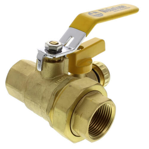 """1"""" Full Port Forged Brass Ball Valve w/ Hi-Flow Hose Drain & Reversible Handle, IPS Union x IPS (Lead Free) Product Image"""