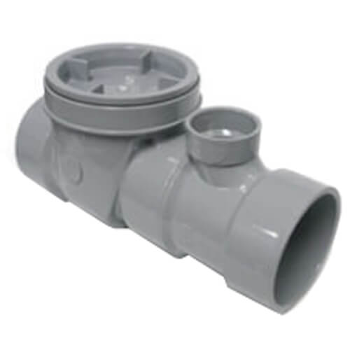"""4"""" PVC Grey Flow Control, 75 GPM with Cleanout and 1-1/2"""" Air Intake Product Image"""