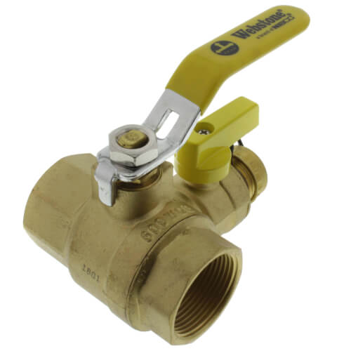 "1-1/4"" Pro-Pal Full Port Forged Brass Ball Valve w/ Hi-Flow Hose Drain & Reversible Handle (Lead Free) Product Image"