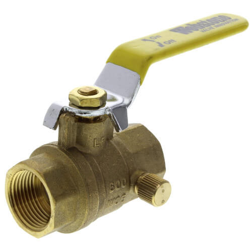 """3/4"""" Threaded Full Port Forged Brass Ball Valve w/ Bleeder (Lead Free) Product Image"""