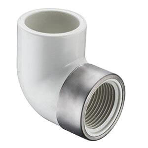 "2"" x 1"" PVC Sch. 40 Spec. Reinforced 90° Elbow (Socket x FIPT) Product Image"