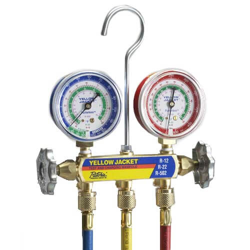 """Series 41 Manifold with 2-1/2"""" Refrigerant Gauges & 36"""" Hoses (R12, R22, R502) Product Image"""