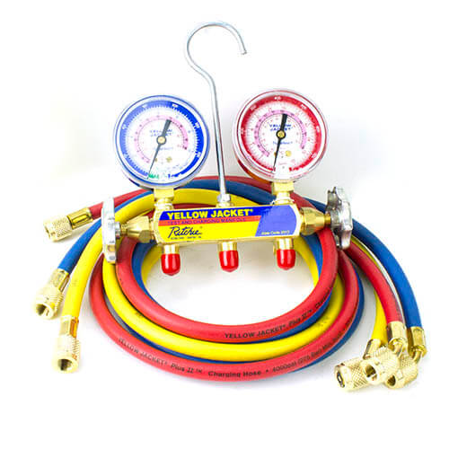 """Series 41 2-Valve Manifold w/ 60"""" PLUS II Standard Fittings, R-410A, 2-1/2"""" Gauges Product Image"""