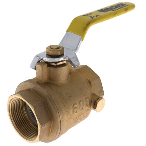"1/2"" IPS Full Port Forged Brass Ball Valve w/ Stainless Steel Lever Product Image"