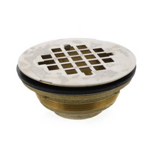 "1-1/2"" Threaded Brass Caulk Shower Drain w/Stainless Steel Strainer (101 NPT) Product Image"