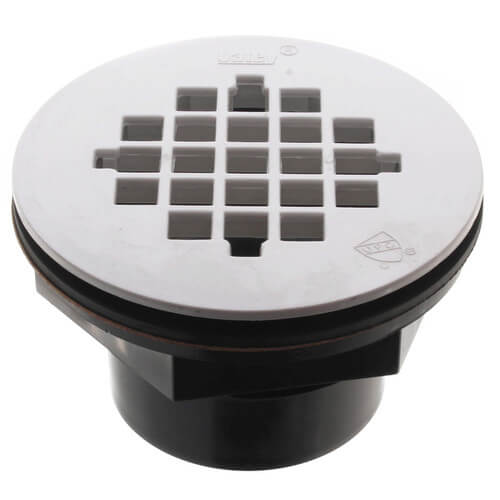 """2"""" ABS Solvent Weld Shower Drain with White Plastic Strainer Product Image"""