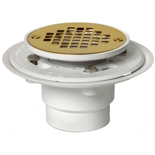 """2"""" or 3"""" PVC Shower Drain with Round Screw-Tite UltraShine PVD Polished Brass Strainer Product Image"""