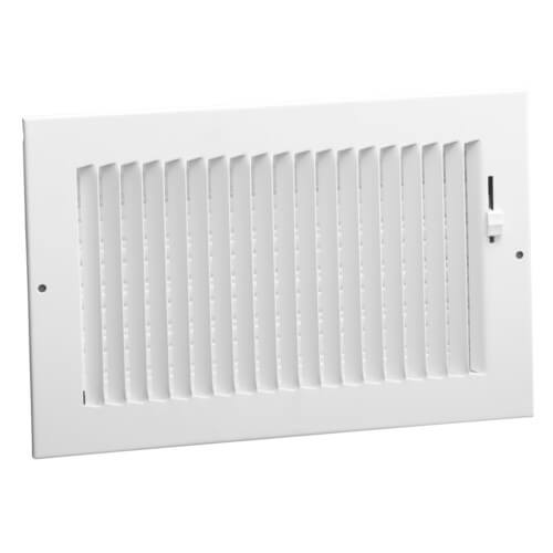 """8"""" x 4"""" (Wall Opening Size) White One-Way Steel Sidewall/Ceiling Register (681 Series) Product Image"""