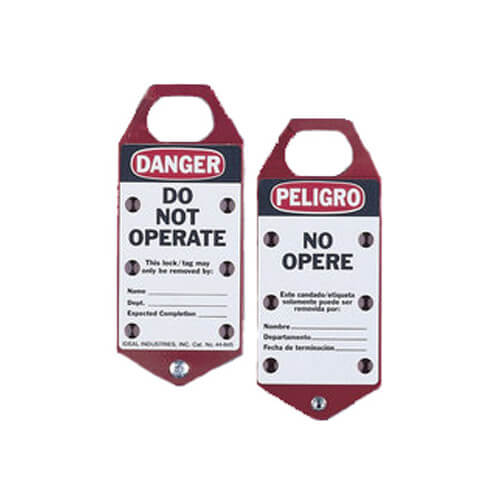 """Do Not Operate"" Red Striped Bilingual Lockout Tags (Card of 5) Product Image"