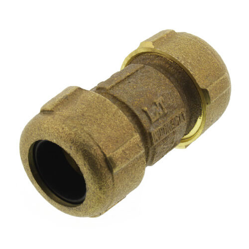"""1/2"""" IPS (3/4"""" CTS) Brass Compression Coupling Short (Lead Free) Product Image"""