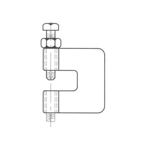 """1/2"""" Electro-Galvanized C-Clamp with Bottom Locking Nut Product Image"""
