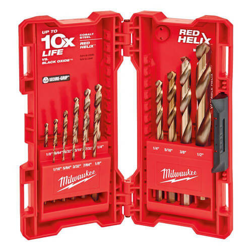 15 Piece Cobalt Red Helix Drill Bit Kit Product Image