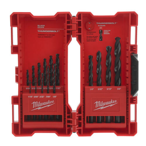 15 Piece Thunderbolt Black Oxide Drill Bit Kit Product Image