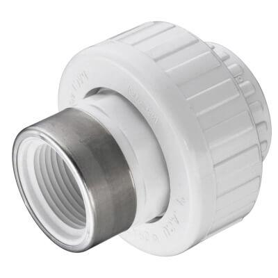 "3/8"" PVC Sch. 40 Socket x SR Female Union w/ EPDM O-ring Product Image"