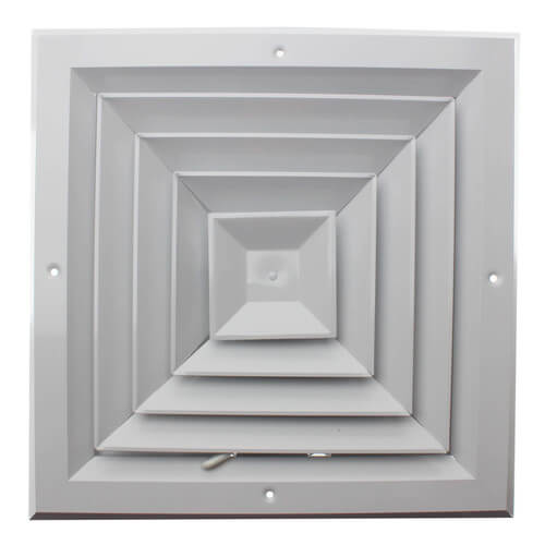 """10"""" x 10"""" (Wall Opening Size) White Ceiling Diffuser (A504MS Series) Product Image"""