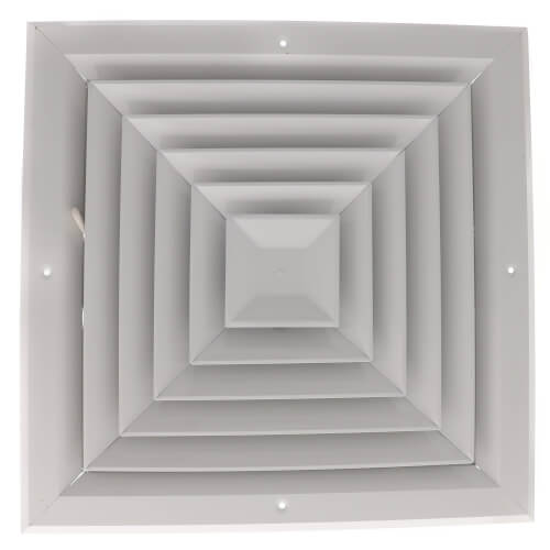 """12"""" x 12"""" (Wall Opening Size) White Ceiling Diffuser (A504MS Series) Product Image"""