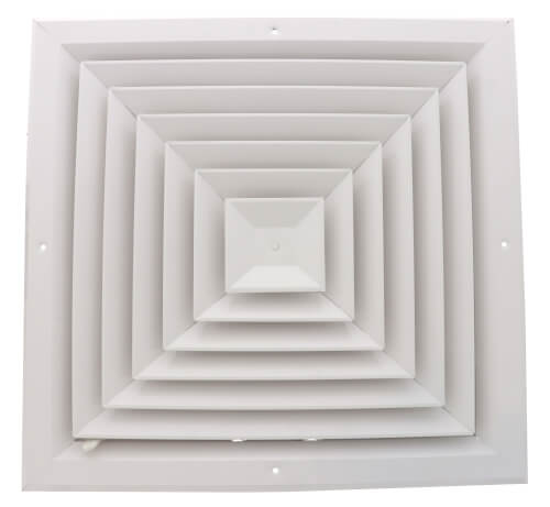 """14"""" x 14"""" (Wall Opening Size) White Ceiling Diffuser (A504OB Series) Product Image"""