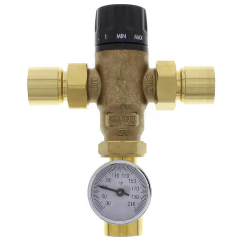 """1"""" Sweat MIXCAL 3-Way Thermostatic Mixing Valve w/ Temperature Gauge Product Image"""