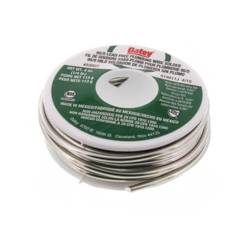 95/5 Lead Free Plumbing Wire Solder 4 oz (95% Tin - 5% Antimony) Product Image