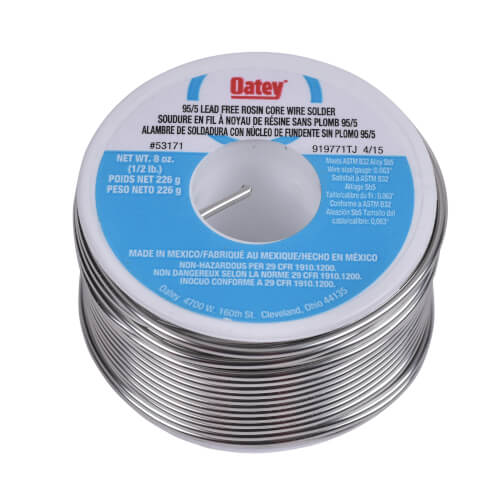 95/5 Lead Free Rosin Core Wire Solder, 8 oz (95% Tin - 5% Antimony) Product Image