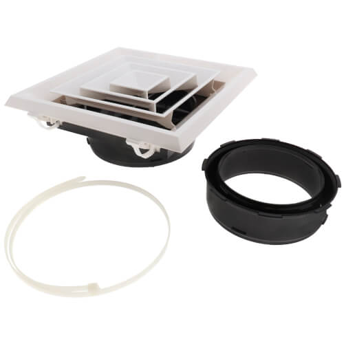 """12"""" x 12"""" 4-Way Ceiling Diffuser in Bright White (Plastic/Rezzin) Product Image"""
