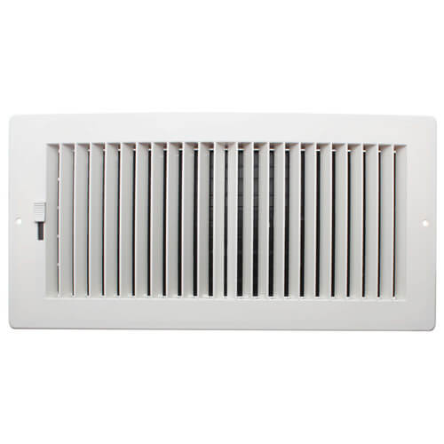 """14"""" x 6"""" (Wall Opening Size) White Two-Way Plastic Sidewall/Ceiling Register (RZ682 Series) Product Image"""