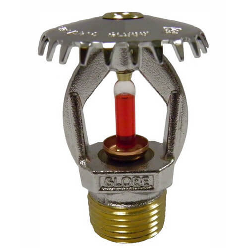 "Quick Response Chrome Upright Sprinkler Head - 200°F (1/2"" Thread) Product Image"