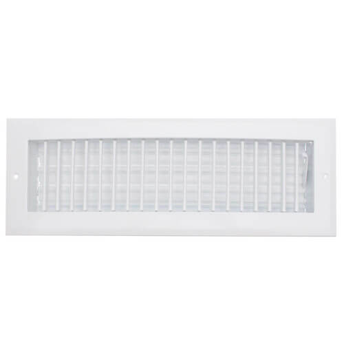 "12"" x 4"" (Wall Opening Size) White Straight Blade, Vertical Fin Register (A718MS Series) Product Image"