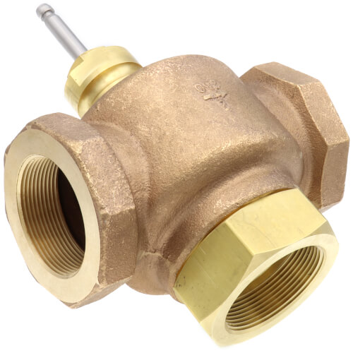 "2"" 3-Way Brass Mixing Valve Body, Female x Female (40 Cv) Product Image"