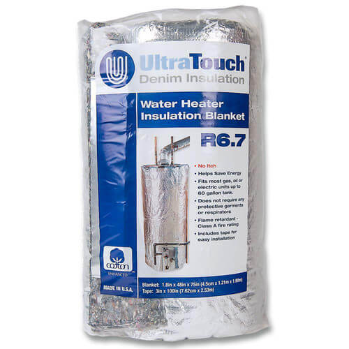 """48"""" x 70"""" UltraTouch Denim Insulation Hot Water Heater Blanket Product Image"""