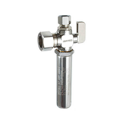 "5/8"" OD Comp (1/2 Nom. Pipe) x 3/8"" OD Comp Angle Supply Stop w/ Water Hammer Arrester, LF (Chrome Plated) Product Image"