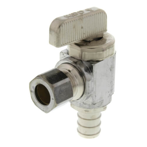 "1/2"" Pex Crimp x 3/8"" OD Compression Angle Stop Valve, Lead Free (Chrome Plated Brass) Product Image"