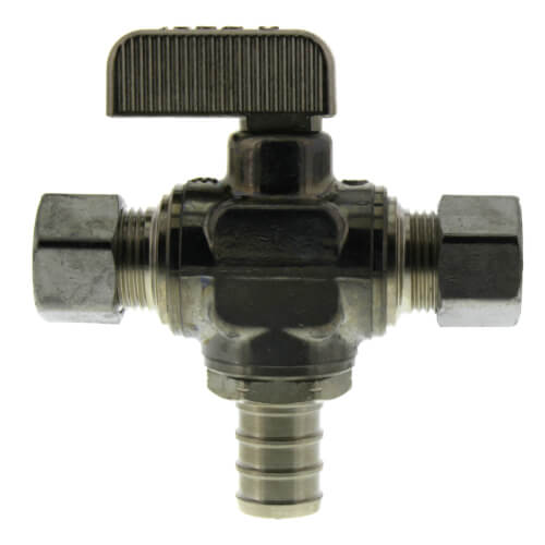 "1/2"" Pex Crimp x 3/8"" x 3/8"" OD Compression Angle Stop Valve, Lead Free (Chrome Plated Brass) Product Image"