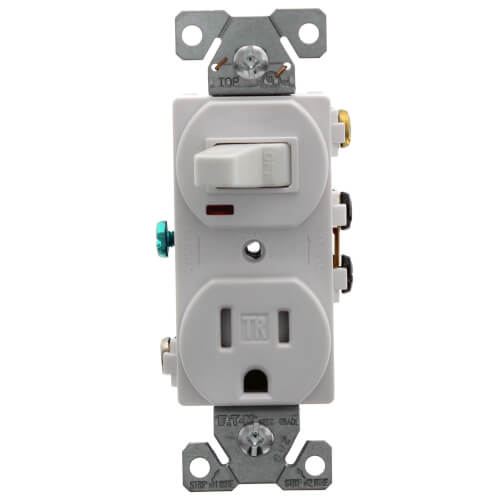 1P, 3W Grounding White Switch/Plug Combo, 15A (120V) Product Image