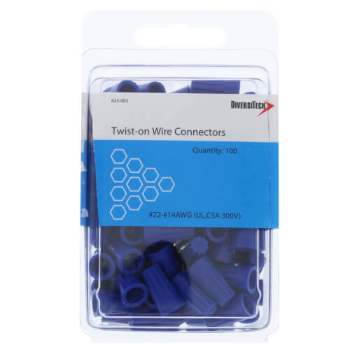 Blue Screw-On Wire Connectors, 22-16 AWG (Pack of 100) Product Image
