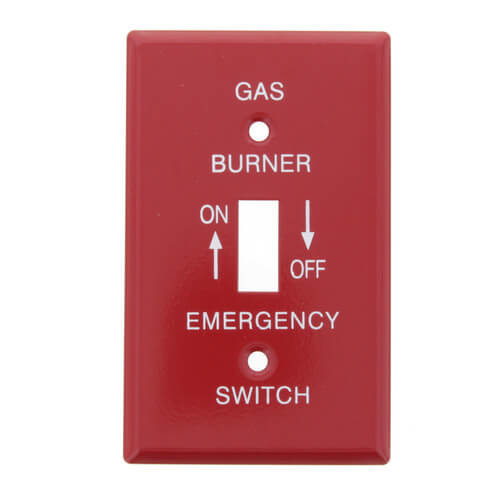 "Red Emergency Gas Burner Cover Plate w/ White Text (4-1/2"" x 2-1/2"") Product Image"
