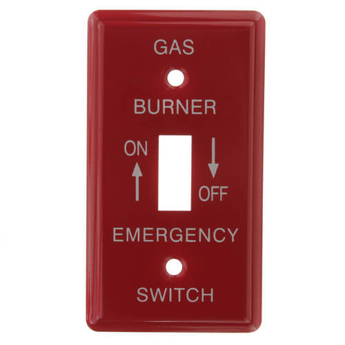 """Red Emergency Gas Burner Cover Plate w/ White Text (4-1/4"""" x 2-3/4"""") Product Image"""