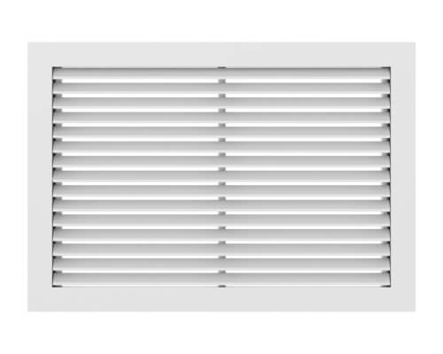 "18"" x 18"" (Wall Opening Size) White Aluminum Return Air Grille w/ 90° Fixed Blade (RH90 Series) Product Image"