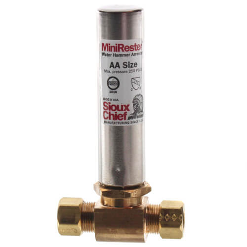 "Mini-Rester Water Hammer Arrestor - 3/8"" O.D. Compression Tee for Supply Tube (Lead Free) Product Image"