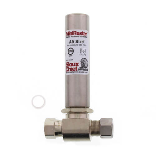 """Mini-Rester Water Hammer Arrestor - 3/8"""" O.D. Compression x 3/8"""" O.D. Female Compression Tee (Lead Free) Product Image"""