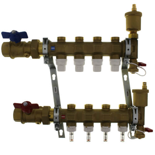 """1"""" TwistFlow Manifold w/ Temp Gauge, Inverted PEX Outlets (4 Outlets) Product Image"""